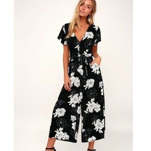 Lush Pants & Jumpsuits - Lush | black floral jumpsuit diff print sz medium
